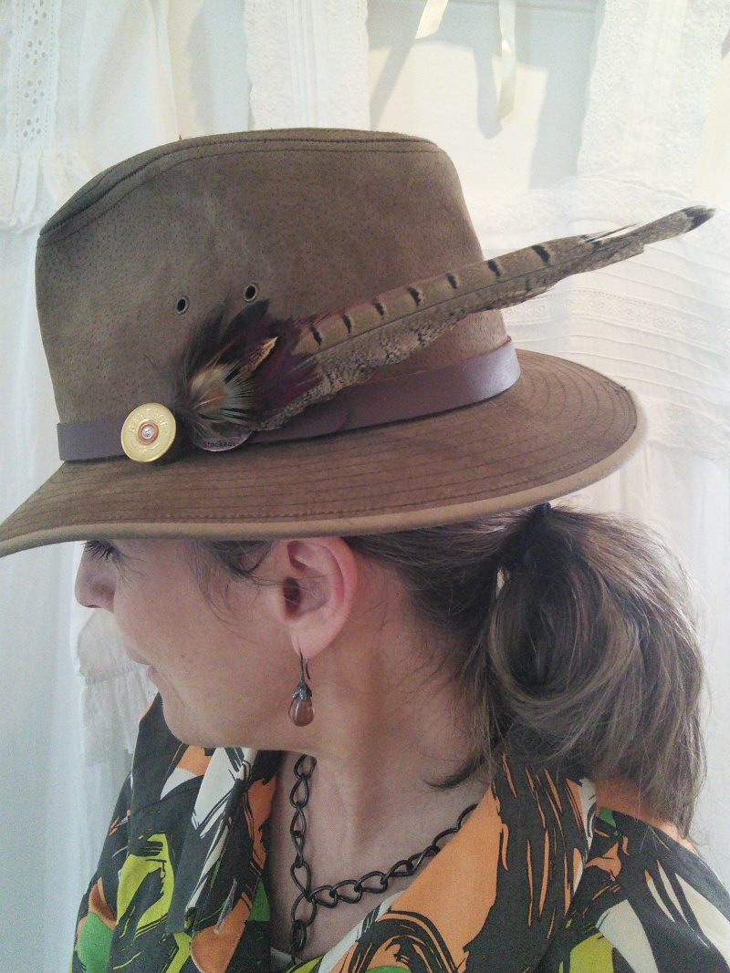 Feather Hat Pin - Long with Brass colour Cartridge base